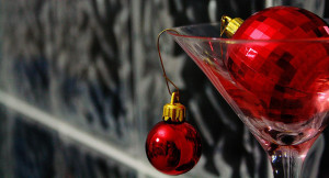 martini glass with christmas tree ornaments